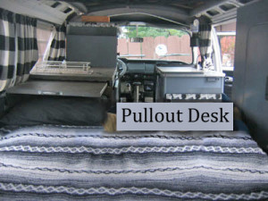 1969 VW Bus Pullout Desk | Inspiration for restoring and living in a VW bus.